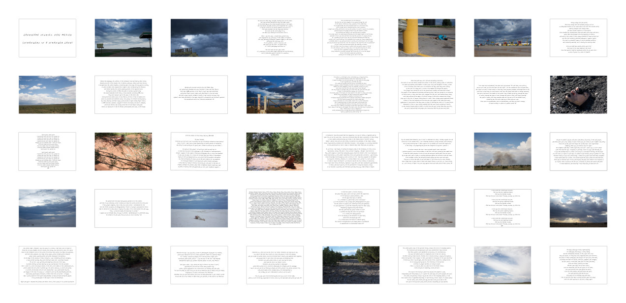 Landscape Studies: New Mexico (Strangers in a Stranger Land) photo-text grid - 40 UV photo prints on aluminum, each 20 x 30 inches